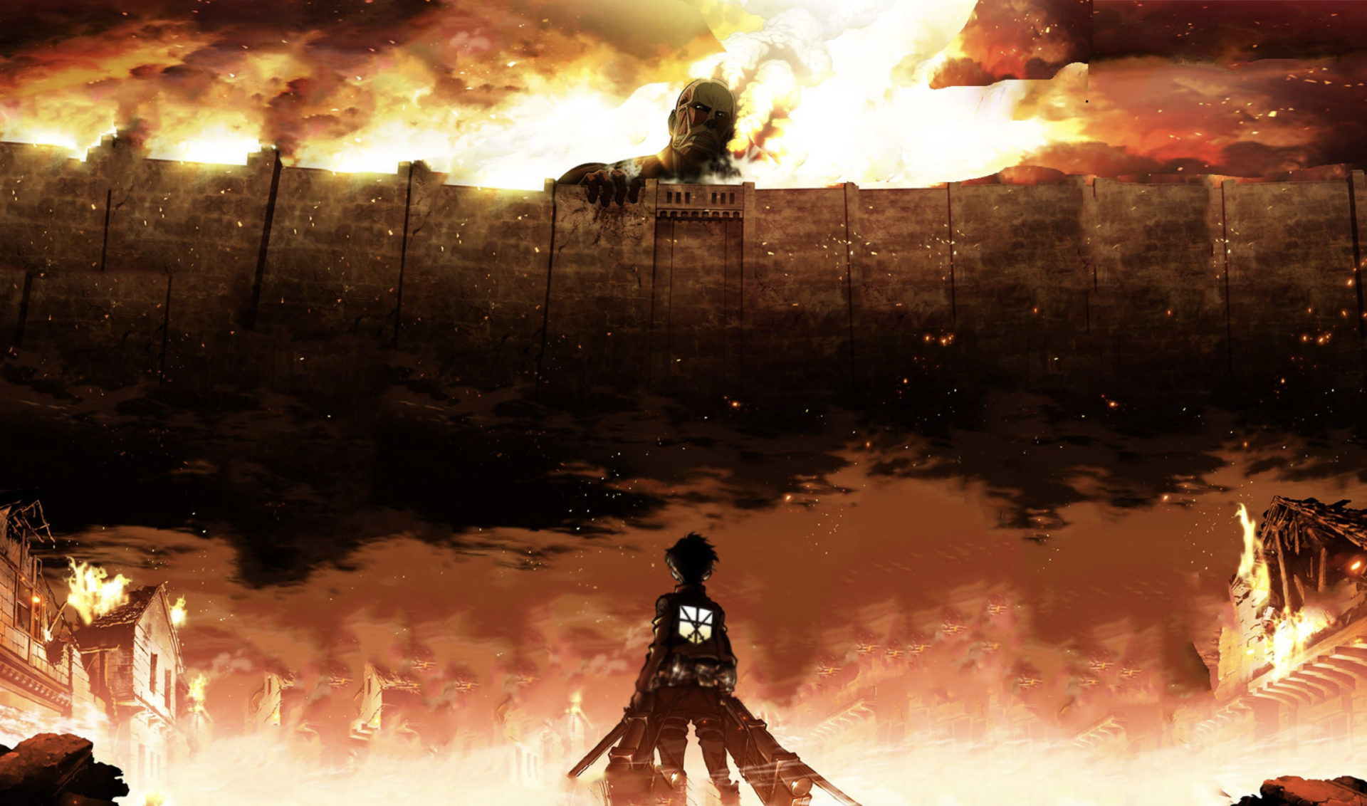 Promotional image of Attack on Titan Season 1 featuring Eren Jaegar.