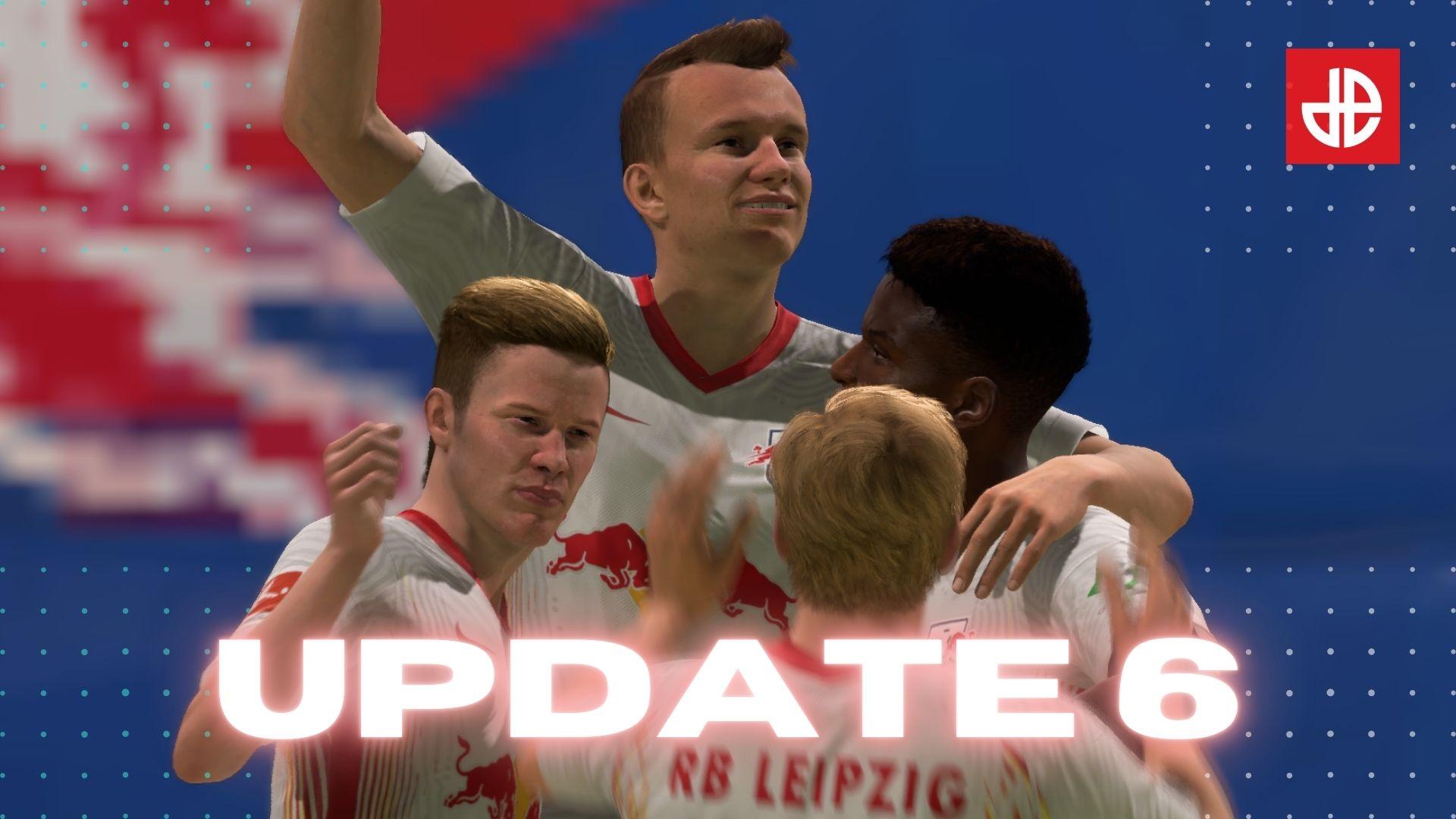 Klostermann celebrates above FIFA 21 Ultimate Team Title Update #6 logo.