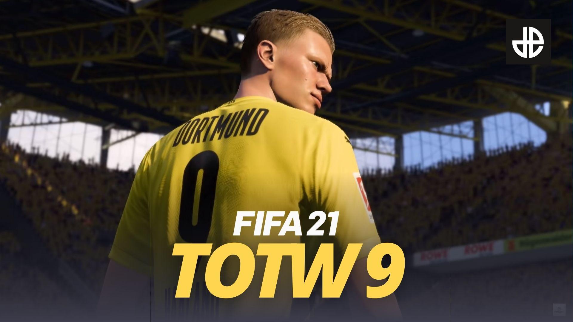 Dortmund striker Erling Haaland stands behind FIFA 21 TOTW 9 logo.