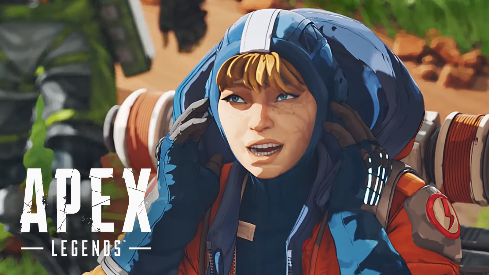 Wattson covers her ears next to Apex Legends logo.