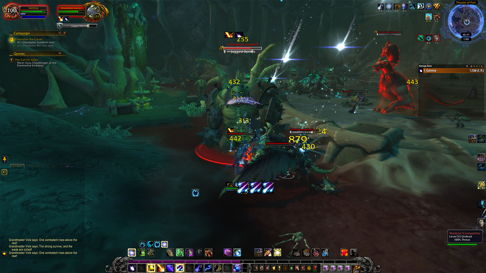 Theater of Pain in Maldraxxus, with lots of enemies on-screen at any one time