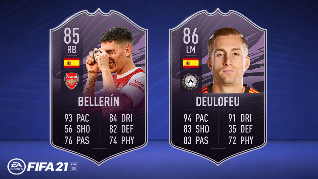 Bellerin and Deulofeu objective cards in FIFA 21