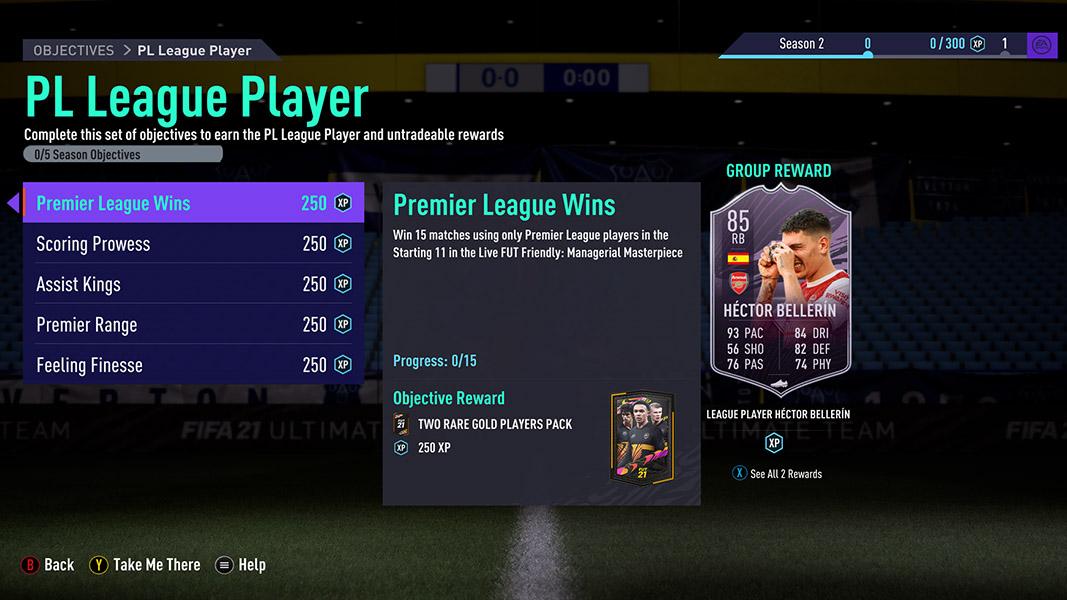 Hector Bellerin FIFA 21 objectives card