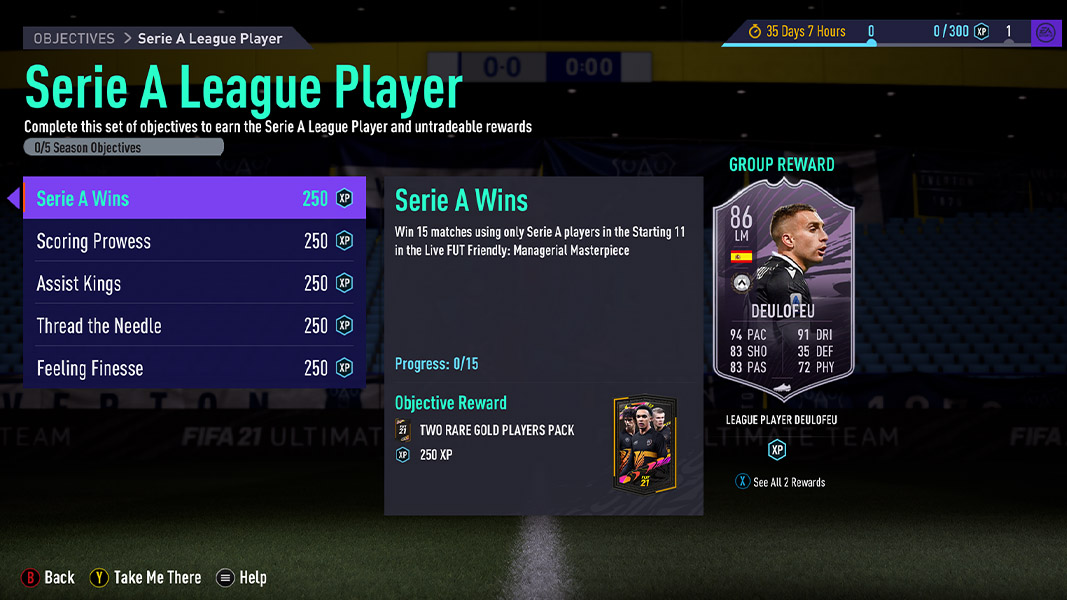 Gerard Deulofeu FIFA 21 objectives card