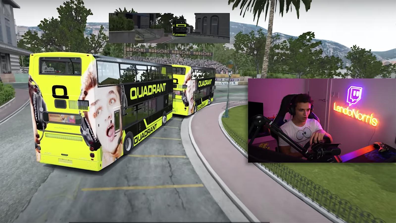 Lando Norris bus racing team quadrant