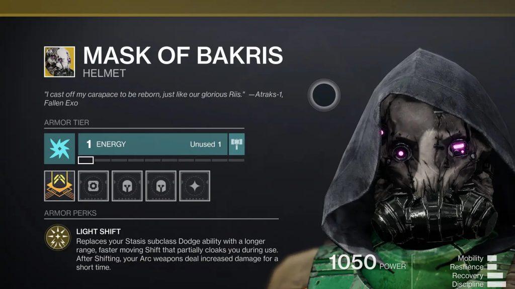 Mask of Bakris Destiny 2 Beyond Light