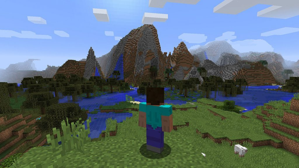 minecraft steve on a hill