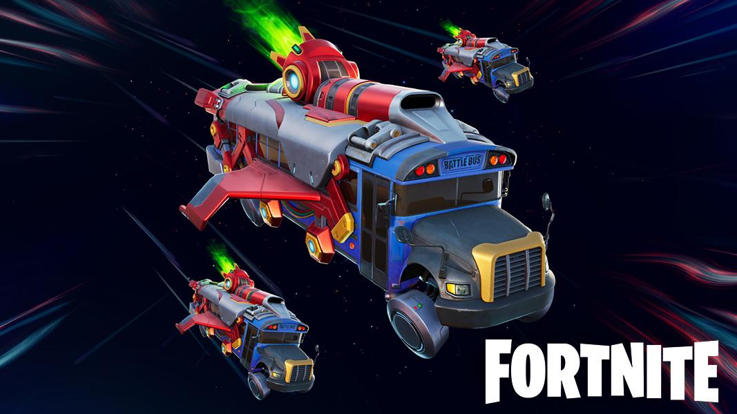 Battle Bus flying in Fortnite