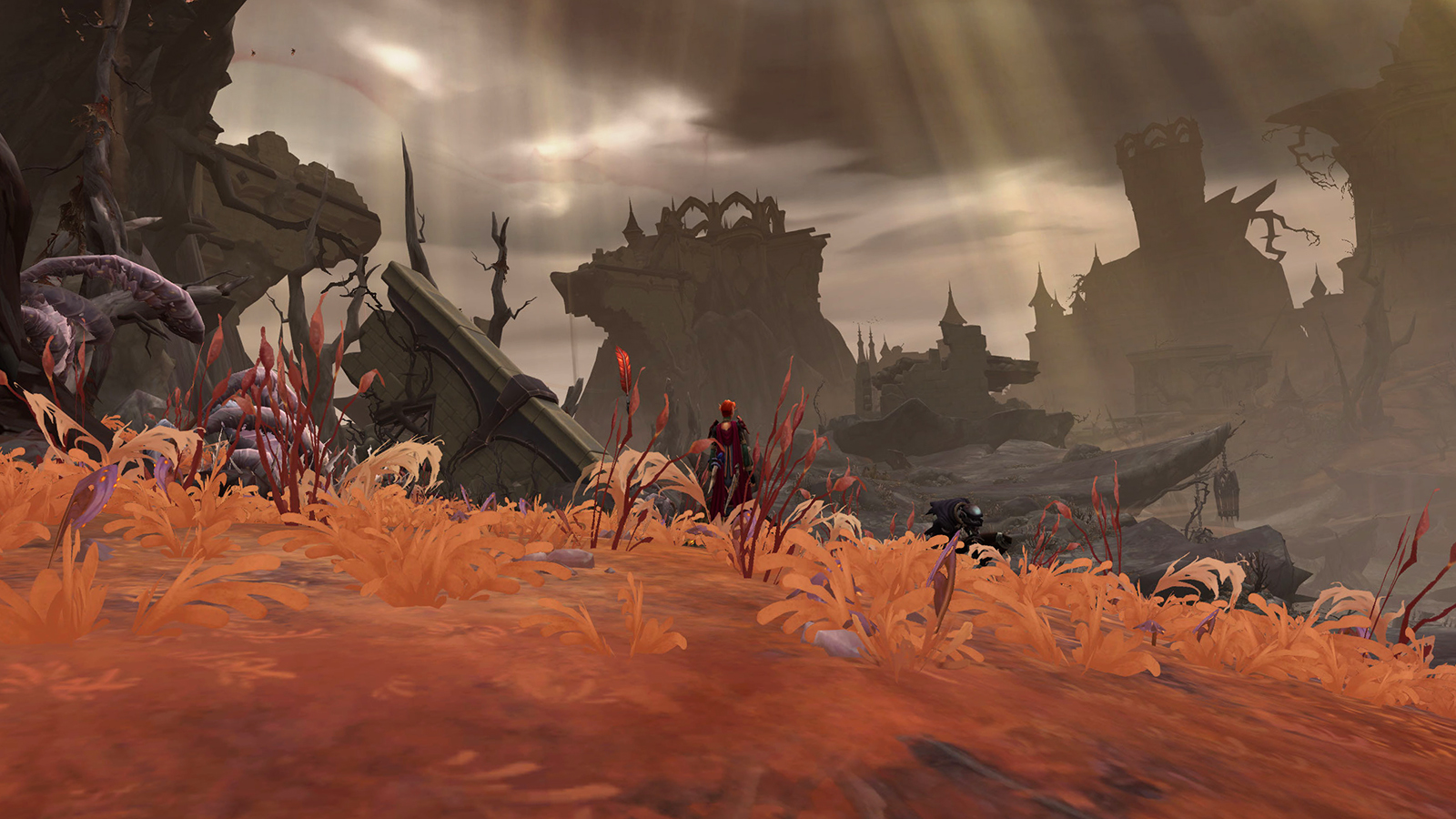 Revendreth in WoW Shadowlands, with craggy cliffs and dried grass