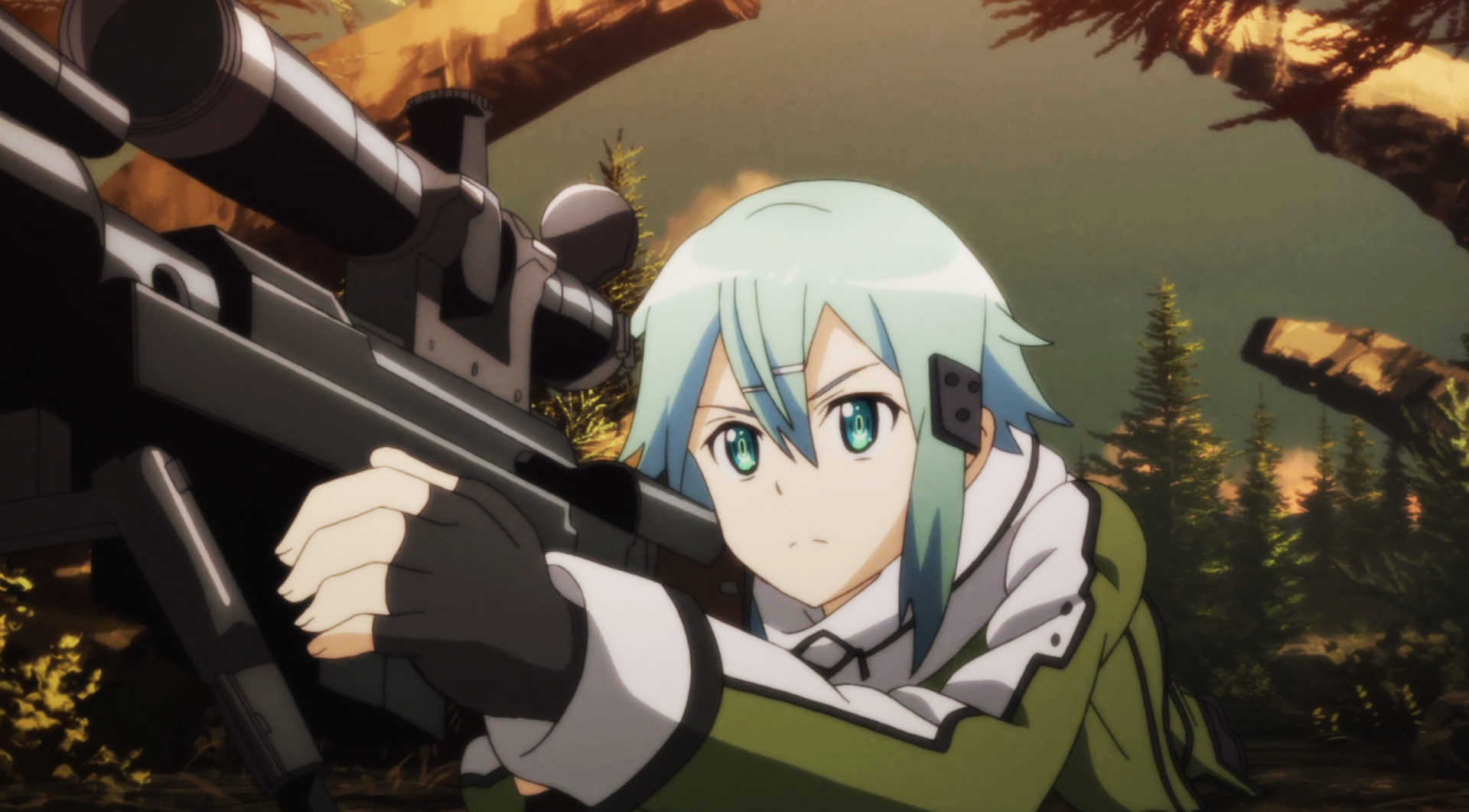 Screenshot of Sword Art Online character Sinon.