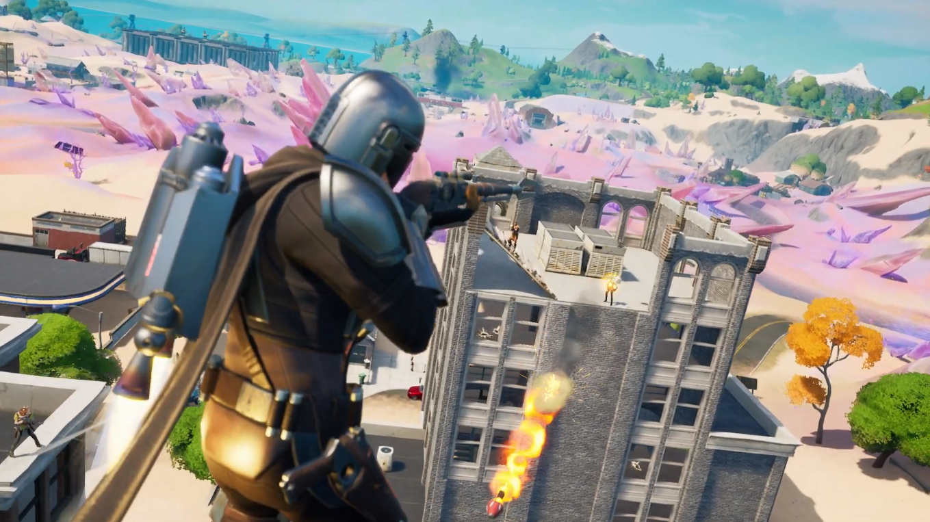 Tilted Towers, now blended with Salty Springs, was spotted in the Fortnite Season 5 battle pass trailer.