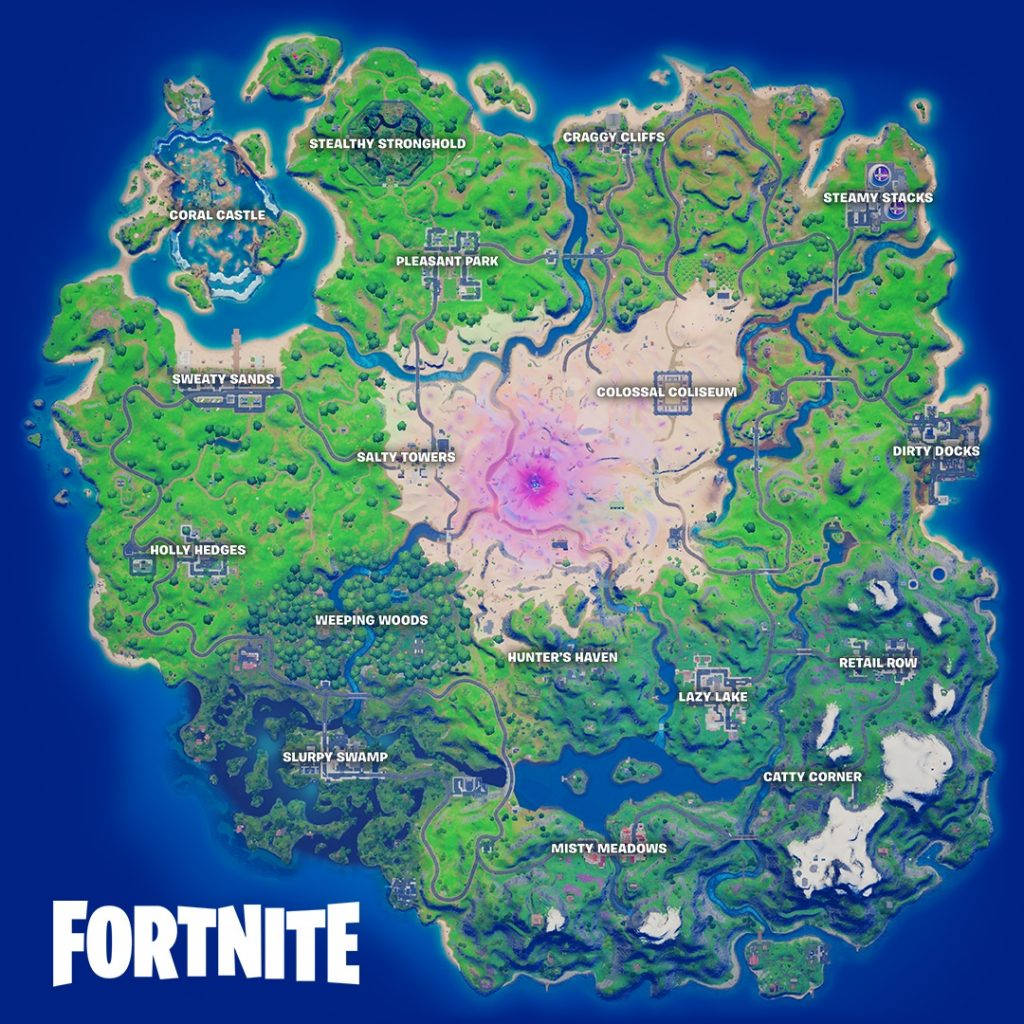 Fortnite's updated map, with new POIs, and a few returning favorites.
