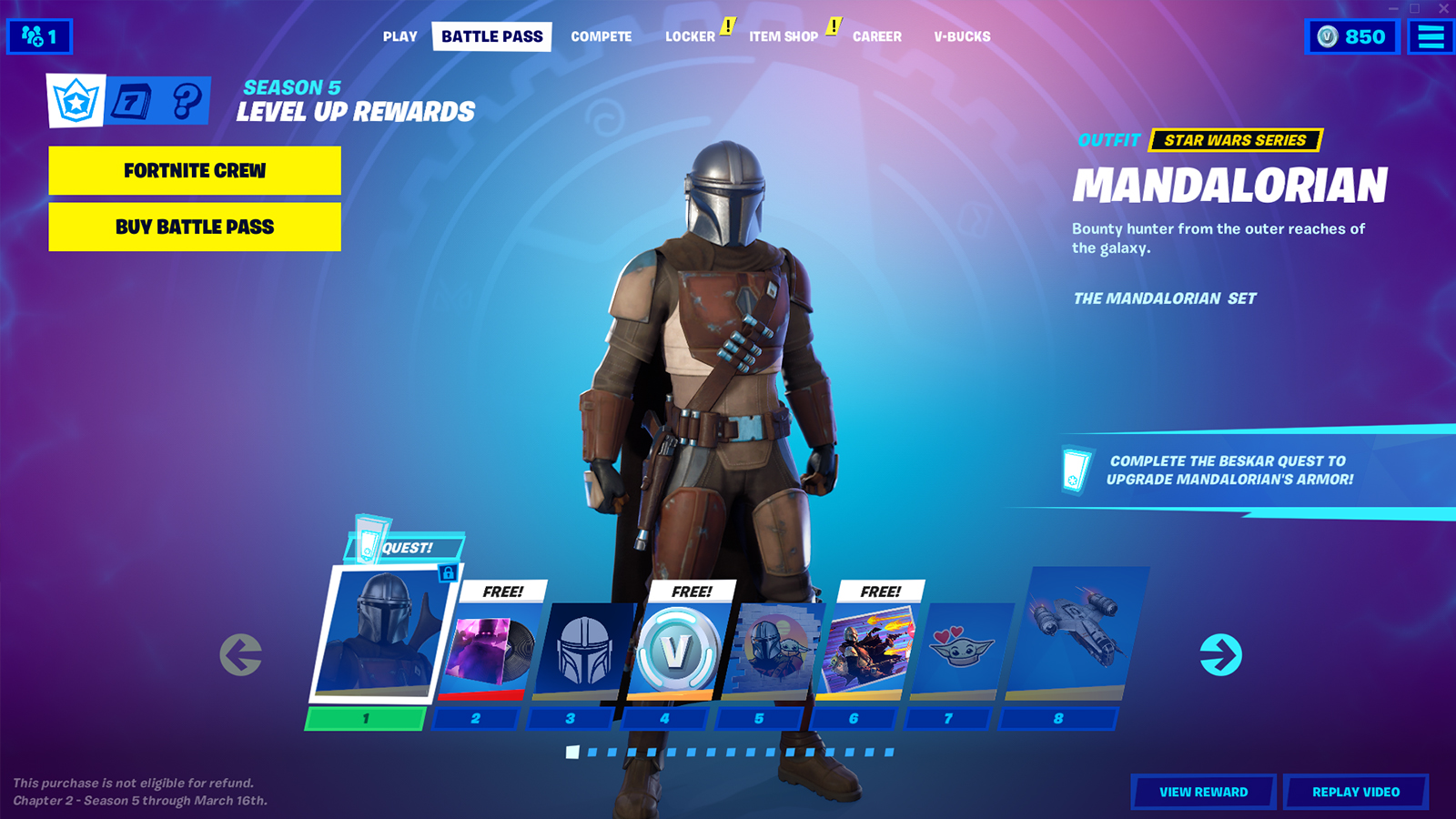 Fortnite's Battle Pass in the new Chapter 2, Season 5.