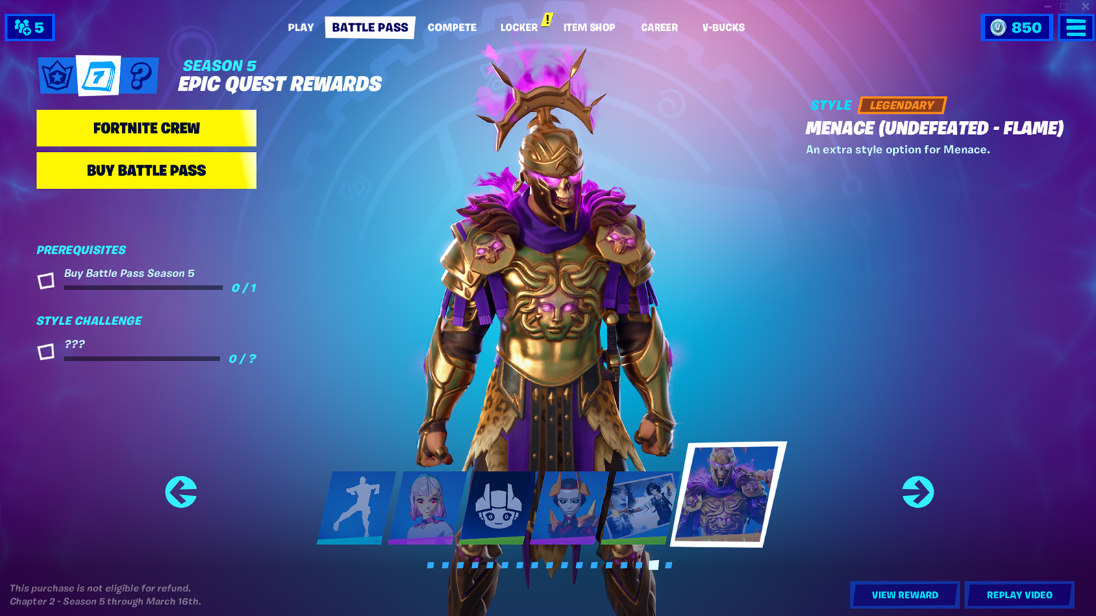 Image showing the final current rewards for this season's Battle Pass