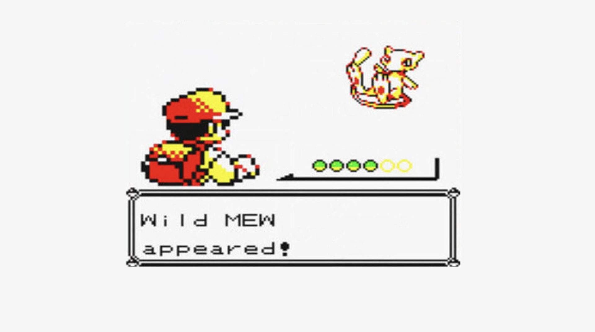 Screenshot of Mew in Pokemon Red & Blue from 1996.