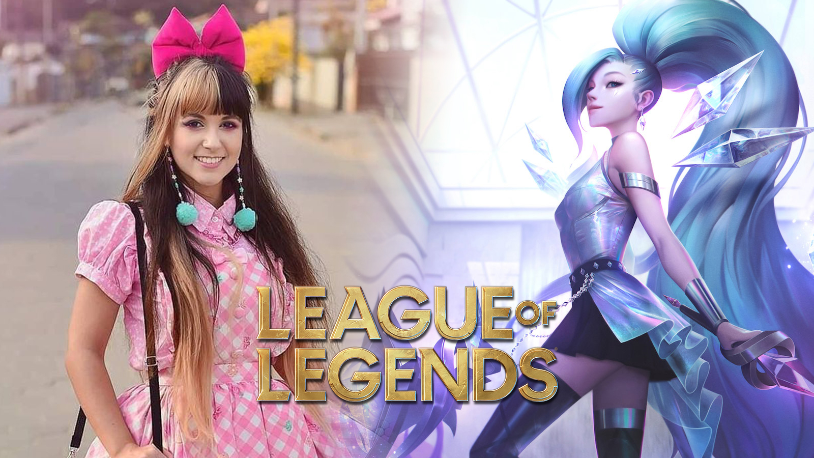 Cosplayer kitsuneraposa next to Seraphine in League of Legends