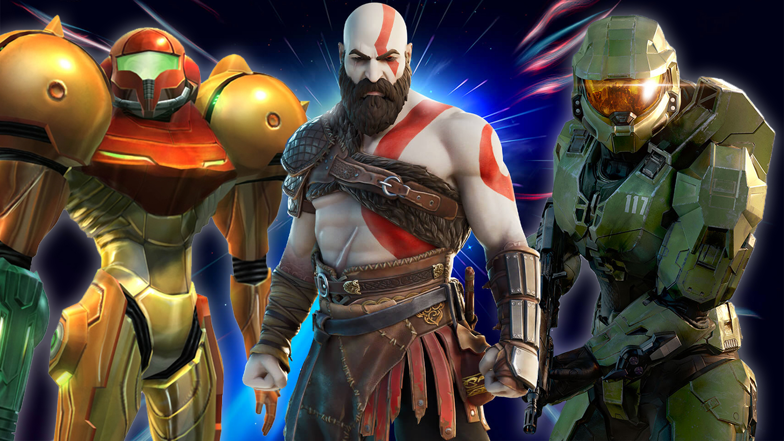 Fortnite Gaming Legends Series Samus Kratos Master Chief