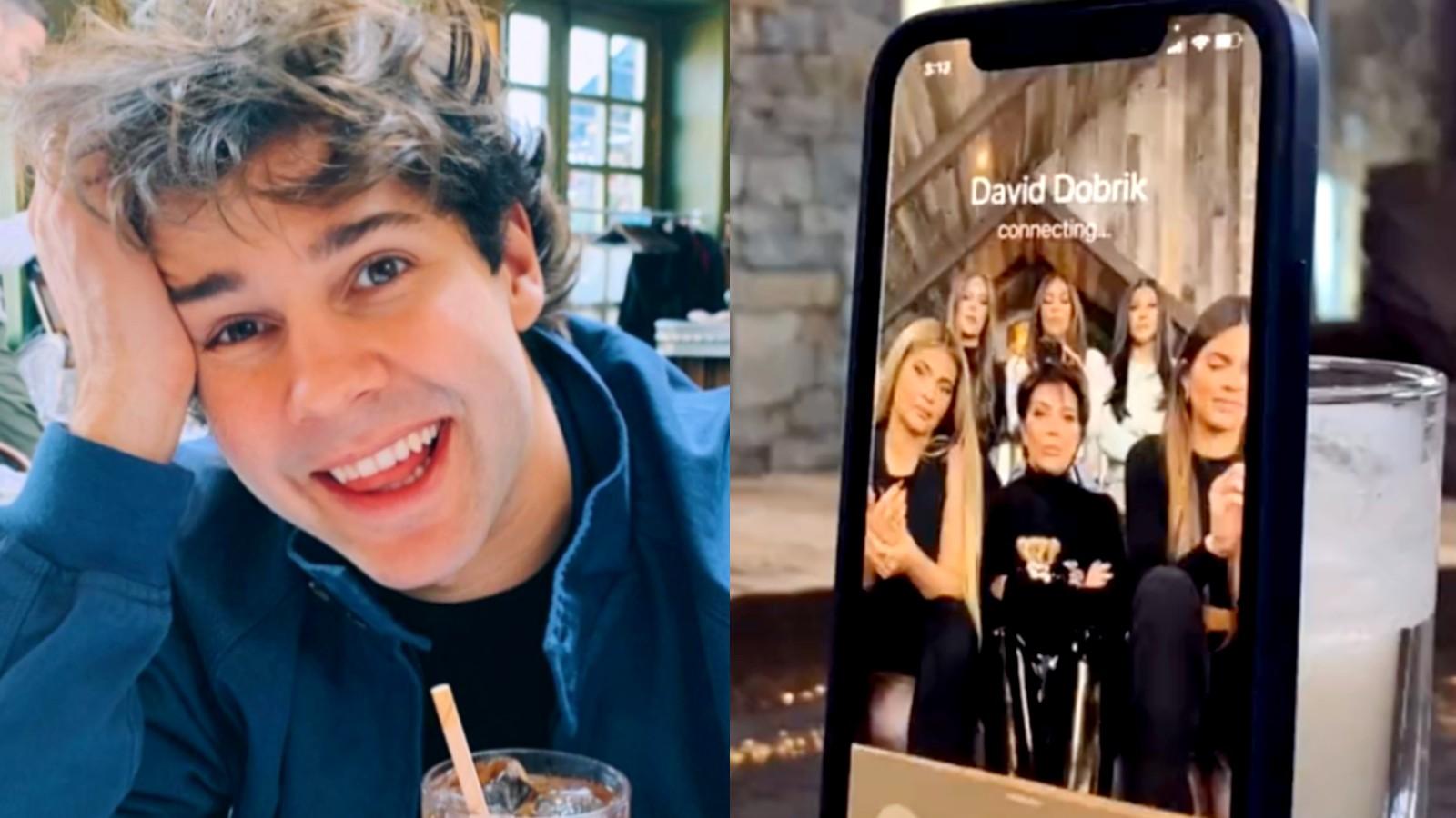 David Dobrik next to an image of the Kardashian family inside a phone