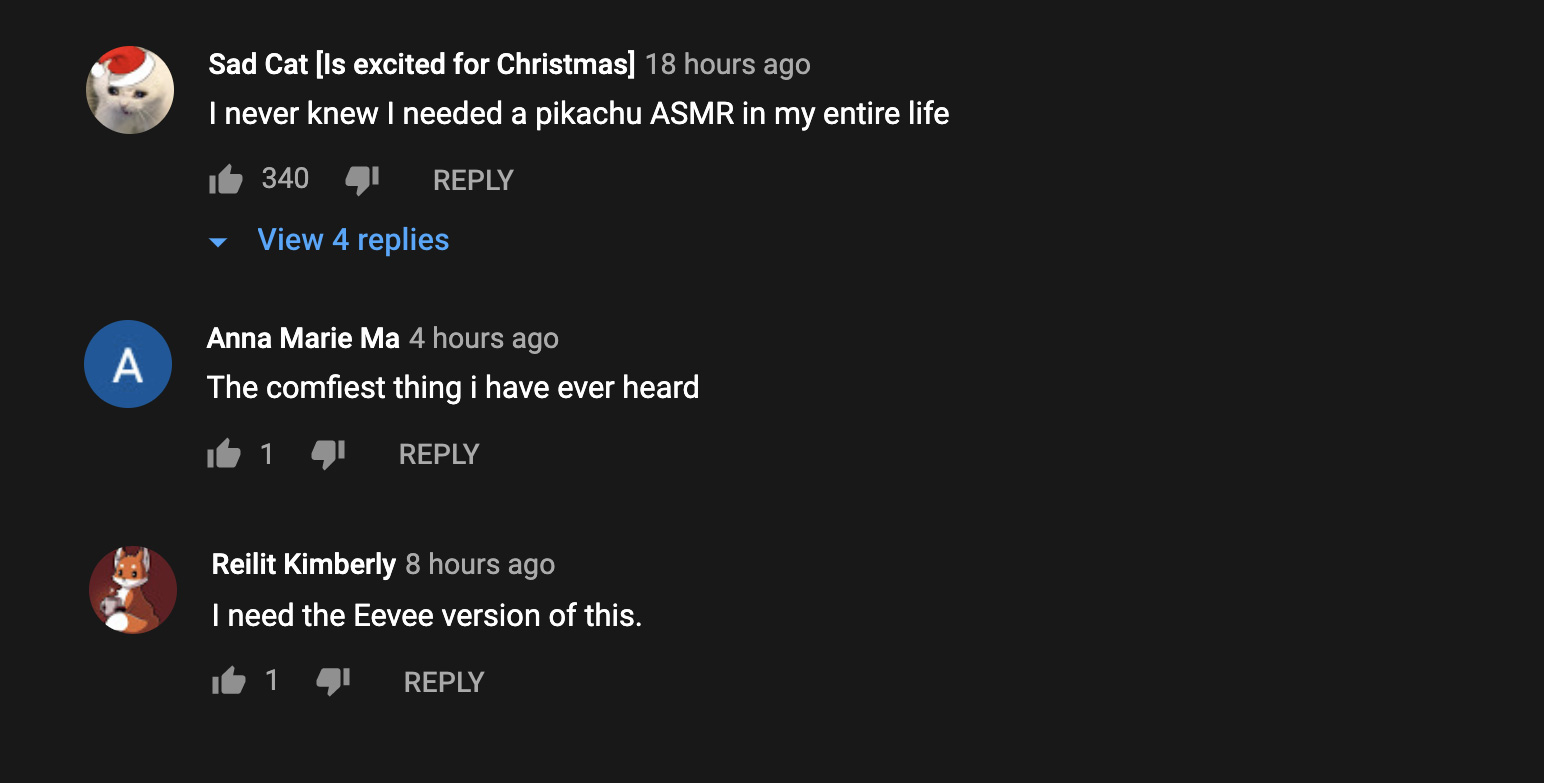 Pokemon fans comment on ASMR Pikachu YouTube upload.