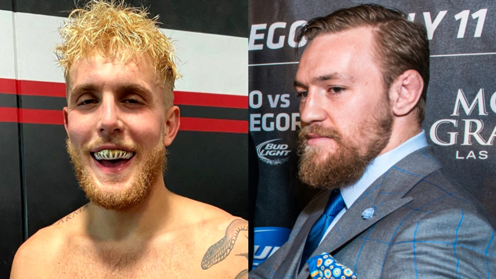 Image of Jake Paul and image of Conor McGregor side by side