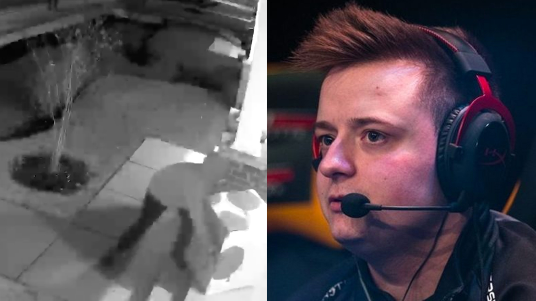 Tommey CCTV screengrab next to Tommey competiing