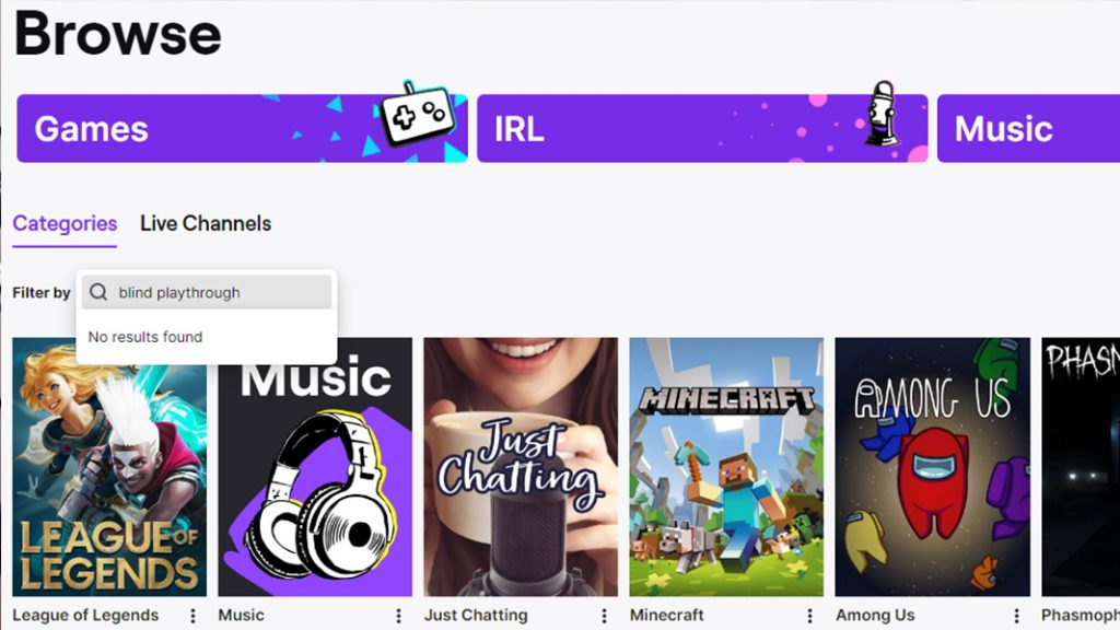 Twitch's browse page