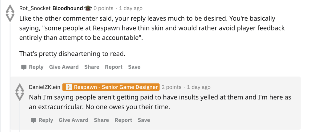 Daniel Klein's comments on Reddit over Respawn abuse