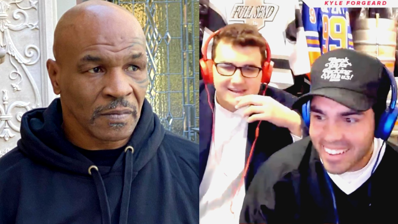 Mike Tyson next to a screenshot of the NELK boys on a Twitch stream