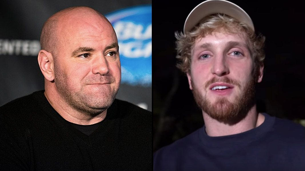 Dana White at a UFC press conference and Logan Paul taking a selfie