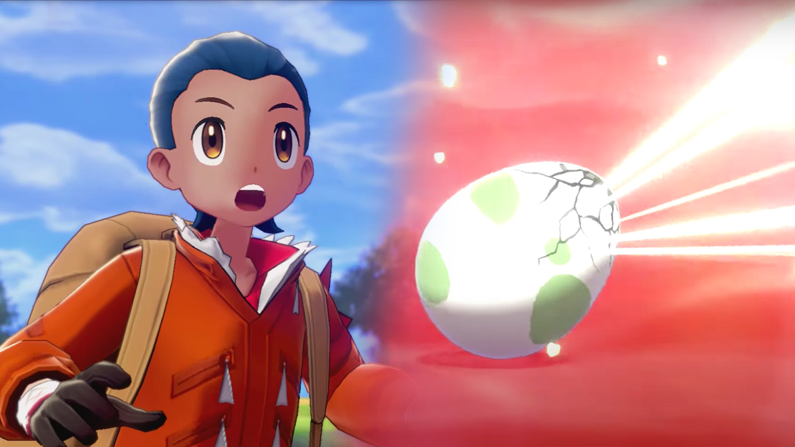 Screenshot of Pokemon Sword & Shield protagonist next to egg hatching.