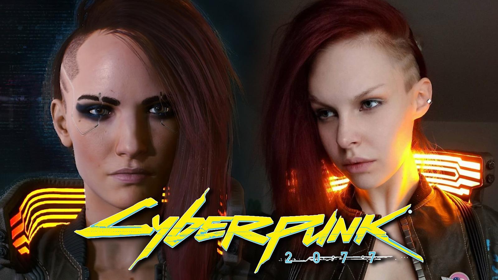 Screenshot of Cyberpunk 2077 female V next to cosplayer.