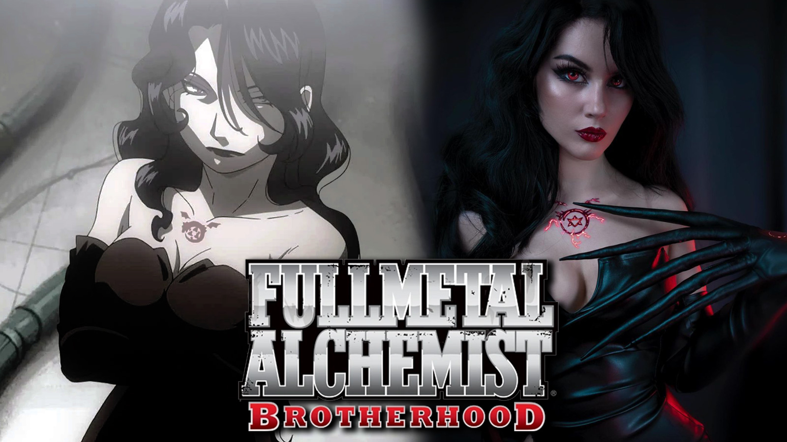 Screenshot of Lust from Fullmetal Alchemist: Brotherhood anime next to cosplayer.