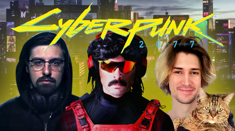 cyperbunk 2077 reactions dr disrespect xqc shroud streamers youtubers twitch youtube