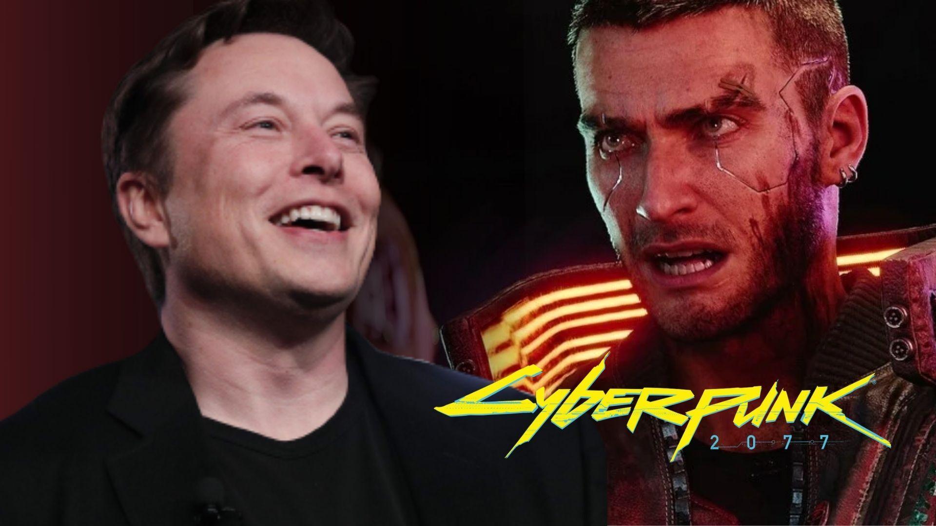 Elon Musk next to an image from Cyberpunk 2077