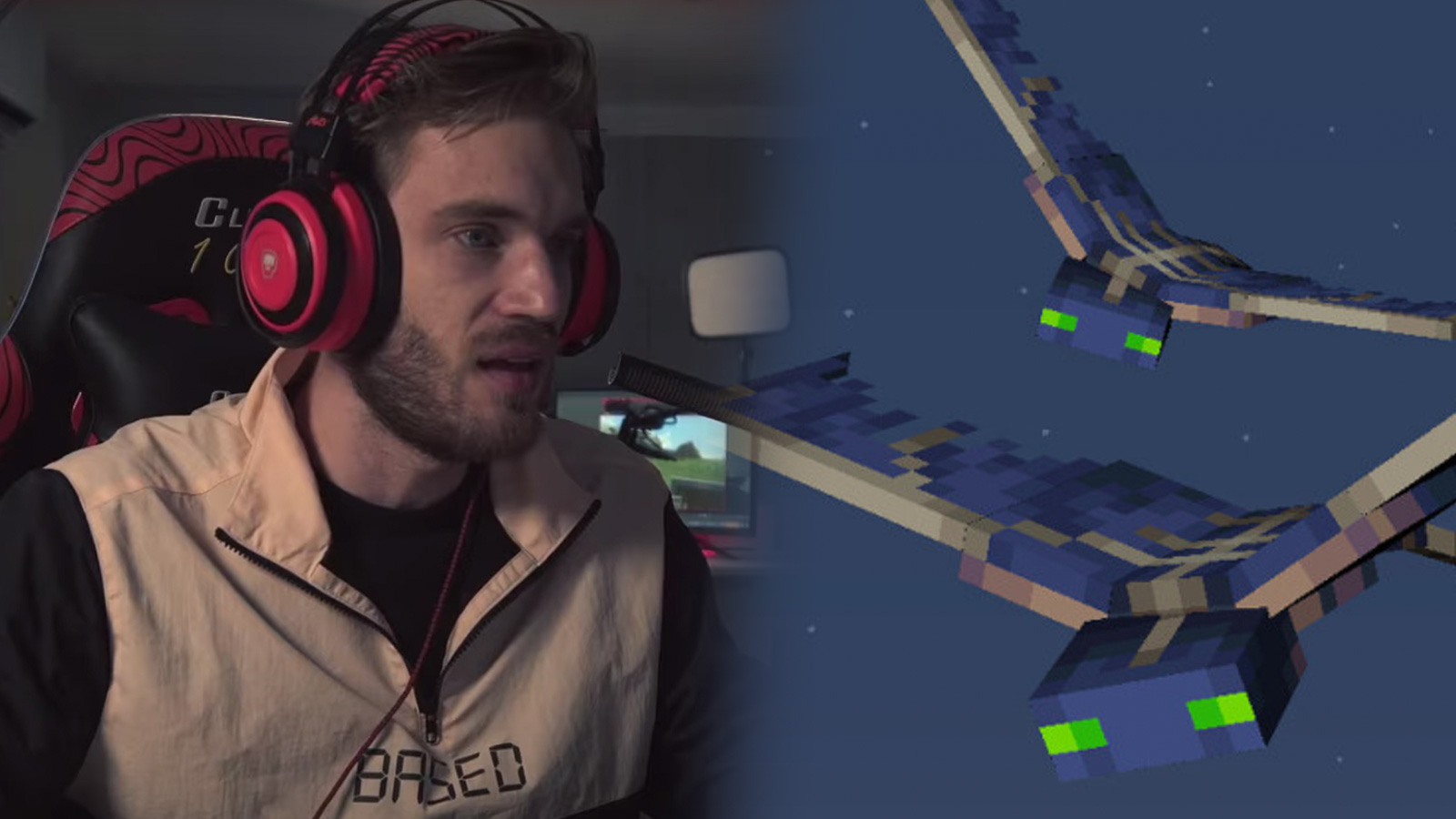 Screenshot of YouTuber PewDiePie next to Minecraft enemy Phantom.