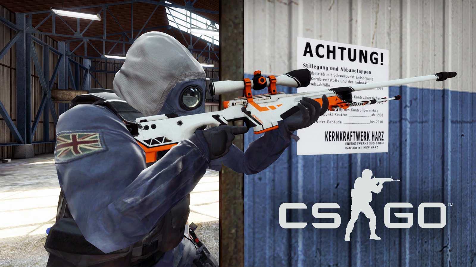 CSGO CT player holding AWP Asiimov