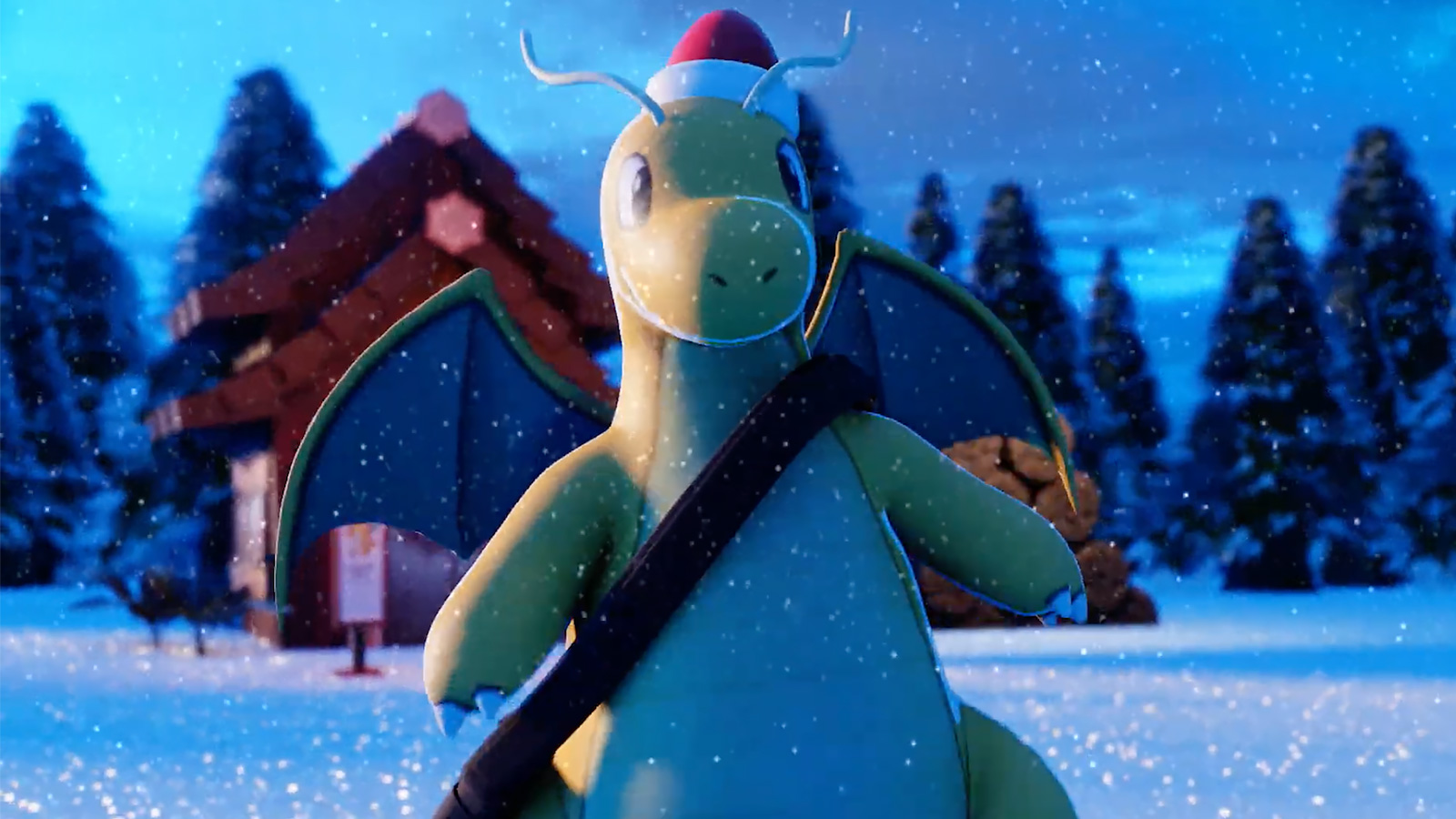 Screenshot of Dragonite in Christmas animation by Gio.