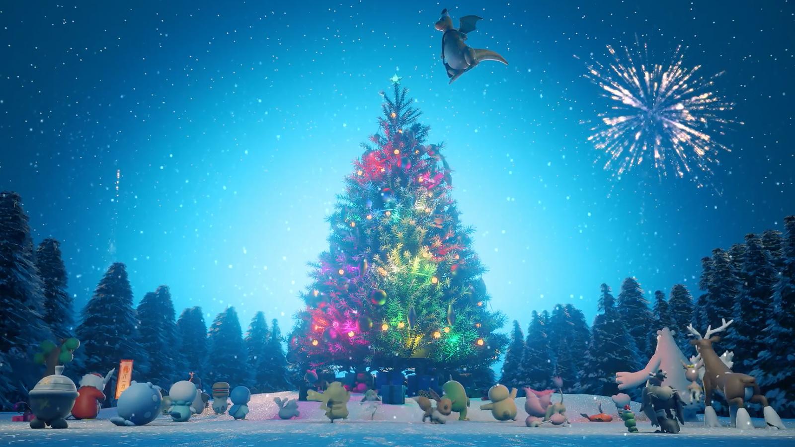 Screenshot of Pokemon gathering around Christmas tree in animation short by GIo.