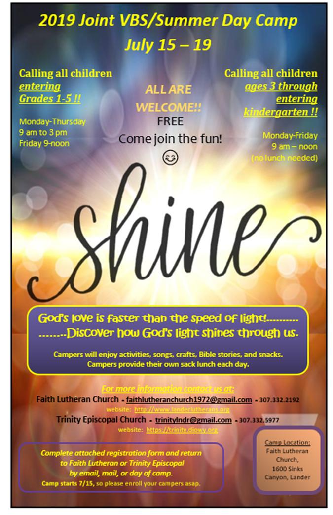 SHINE: 2019 Vacation Bible School | Trinity Episcopal Church