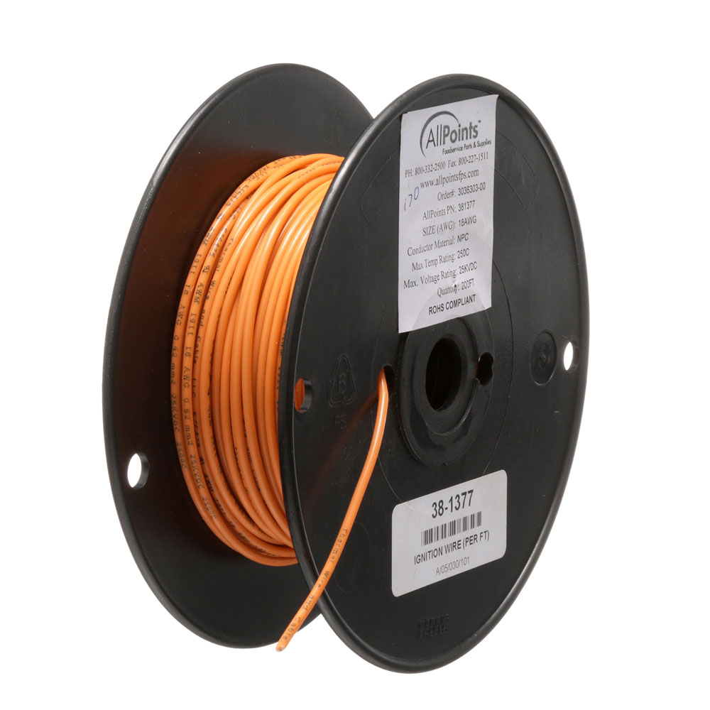 38-1377 - IGNITION WIRE (PER FT) 18 GA 250C ORANGE