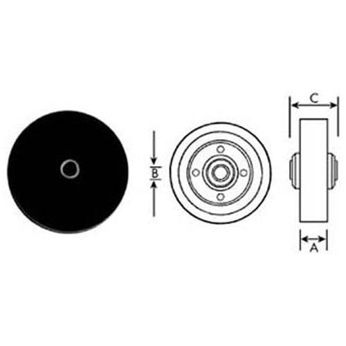 "120-1061 - WHEEL (4"", 5/16""ID, BLK)"