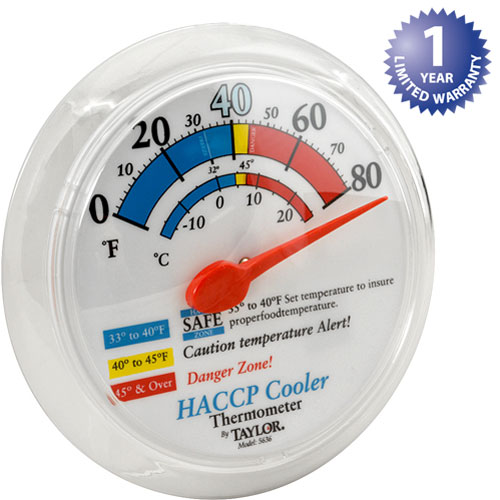 "TAYLOR PRECISION - 5636 - THERMOMETER (6""OD,WALL, 0/80F)"