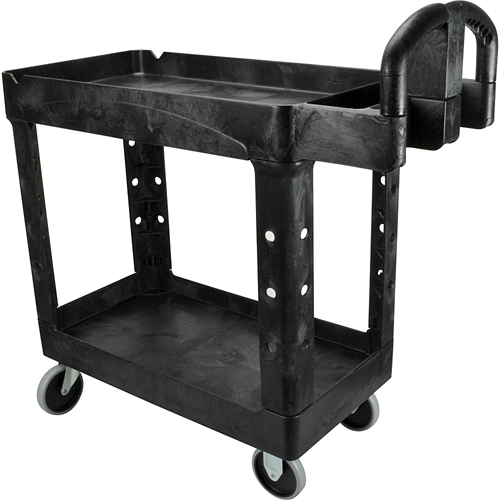 RUBBERMAID - FG450088BLA - CART,UTILITY 2-SHELF, BL ACK