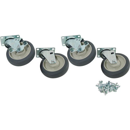 "26-4704 - PLATE CASTER SET (4), 5"" STANDARD DUTY, SWIVEL"