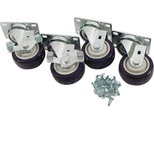 "26-4705 - PLATE CASTER SET (4), 3"" STANDARD DUTY, SWIVEL"