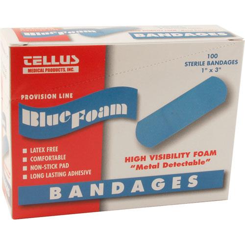 """801-1114 - BANDAGES-BLUE ADHESIVE, 1""""X3"""" (BX/100)"""