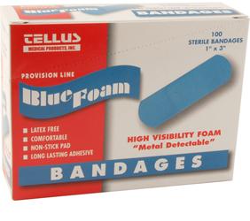 """280-1537 - BANDAGE,BLUE, 1""""X3"""", BOX 100"""