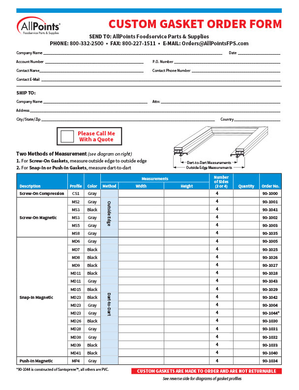 Custom Gasket Order Form