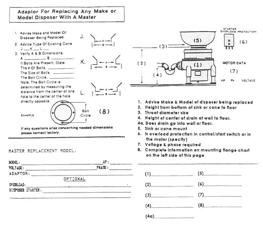 Master disposer replacement work sheet