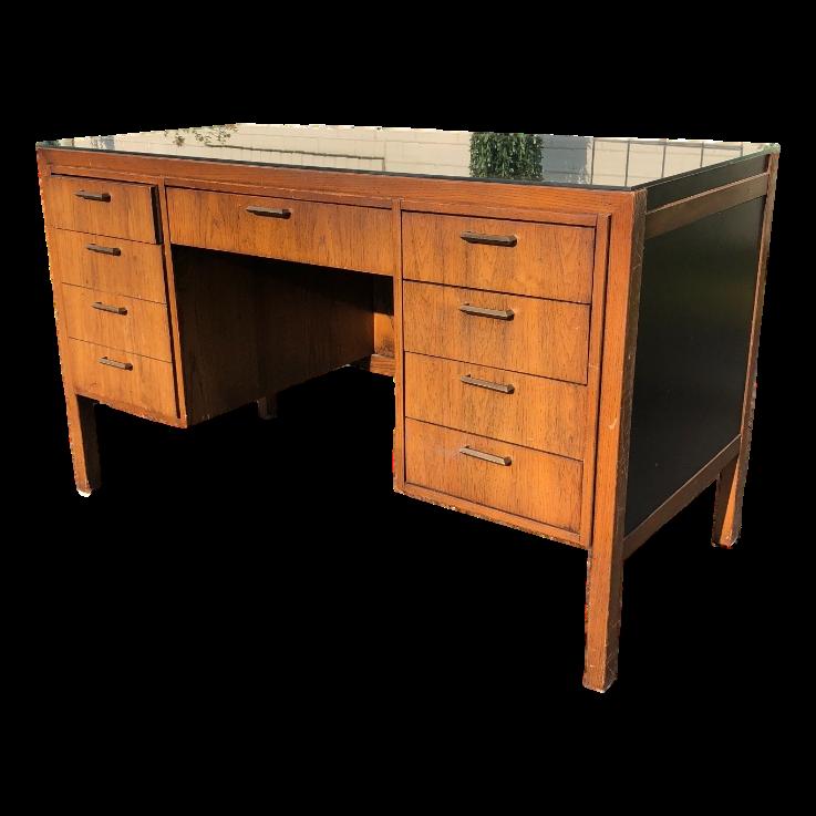 Wood desk with glass top Executive Image Is Loading Nicevintageslighfurniturewooddeskwglass Really Inspiring Designmodern Design Models Nice Vintage Sligh Furniture Wood Desk W Glass Top Modern Black